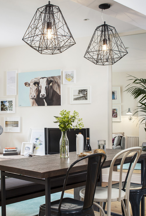 Farmhouse Dining Room with Cow Decor