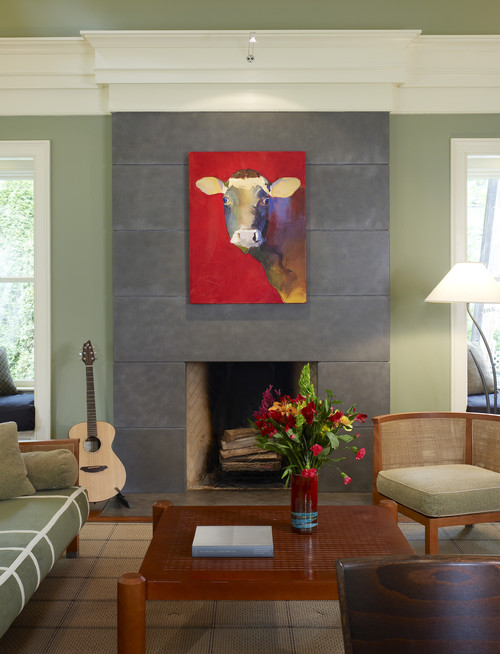 Eclectic Family Room with Cow Print on Fireplace Mantel