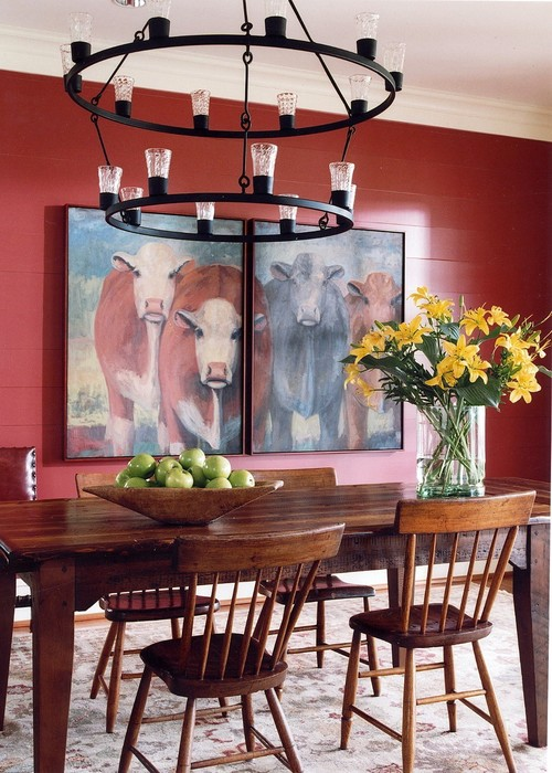 Country Red Dining Room with Cow Painting