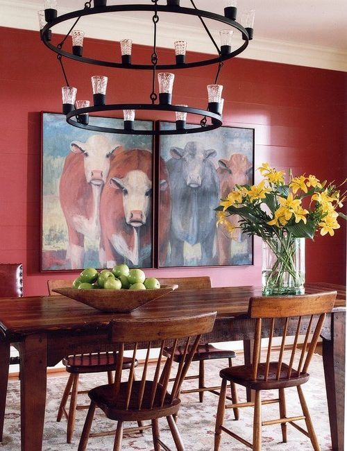 cow decor in red dining room