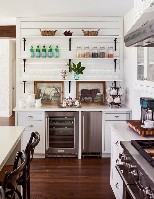 Pair of Cow Prints in White Farmhouse Kitchen