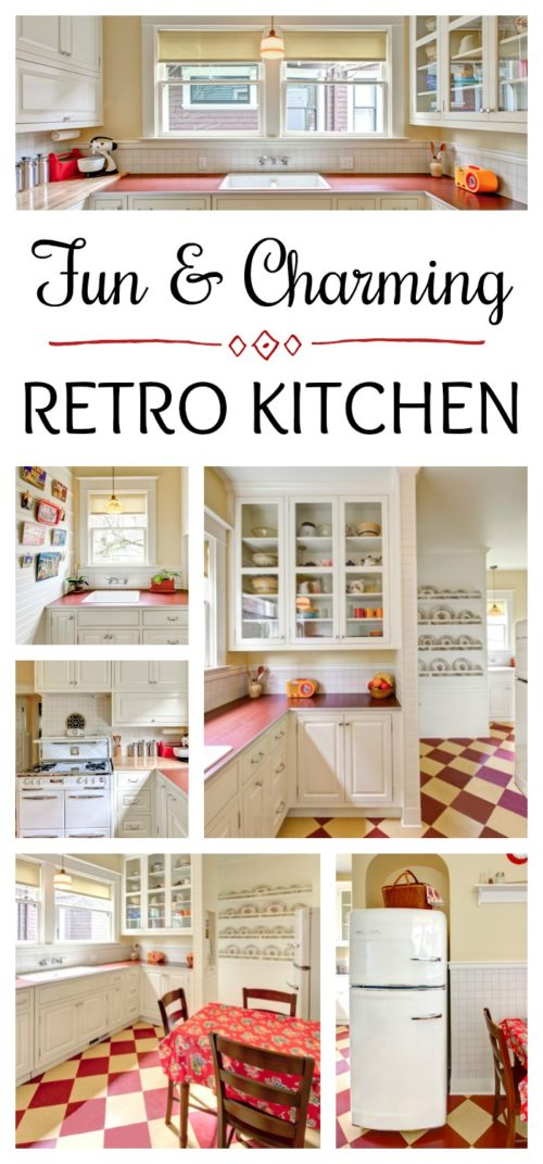 Charming Retro Kitchen in Red and Yellow
