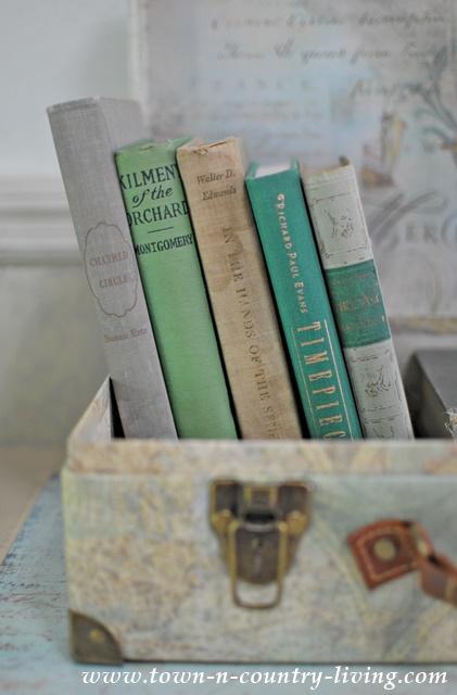 Books in suitcase for unique vignette