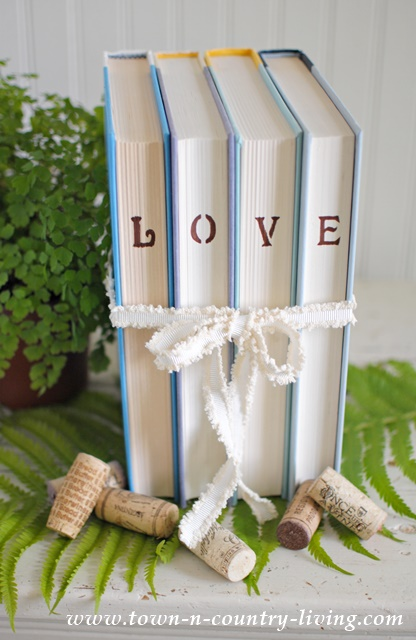Stencil words on books for unique decor