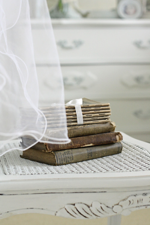 Vintage Books in a Shabby Chic Bedroom