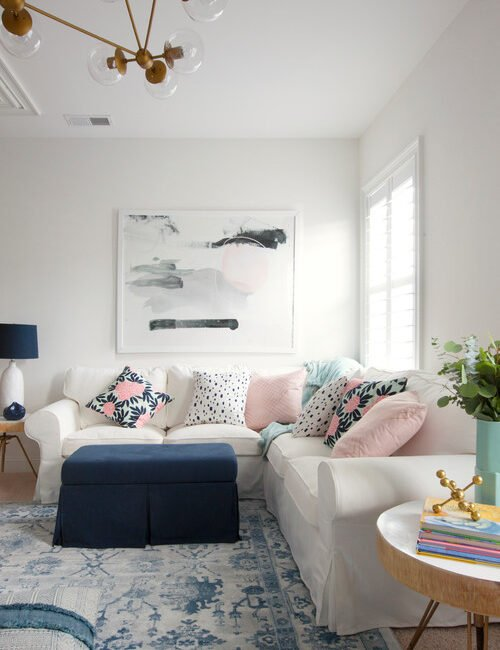Pink and Blue Accents in Living Room