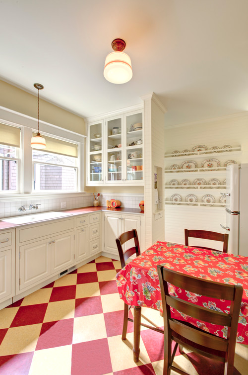 Country Style Kitchen and Breakfast Nook in Red and White