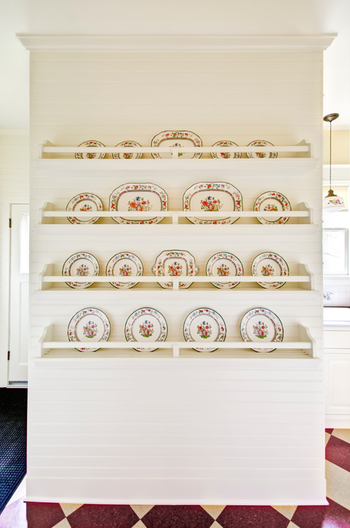 Built-In China Rack in Country Kitchen