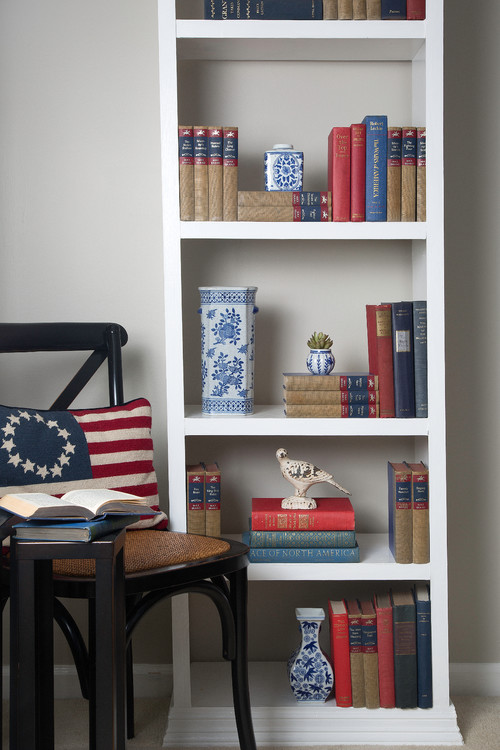 Red White and Blue Books in Country Style Bookcase