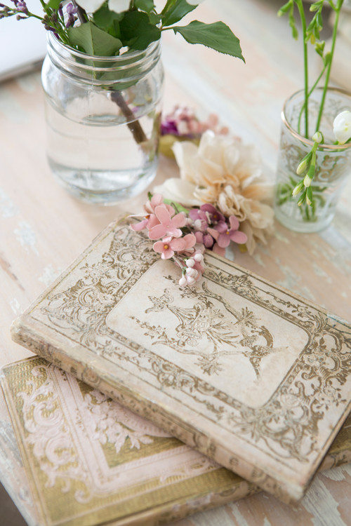 Vintage Books in Cream and Brown