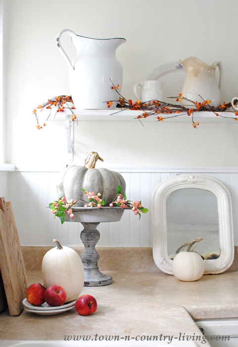 Fall vignette in a farmhouse kitchen