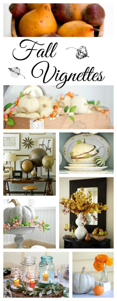 Fall vignettes using pumpkins, gourds, branches, and more
