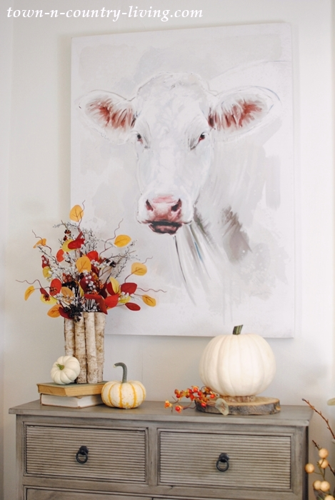 Farmhouse cow painting and fall farmhouse tour