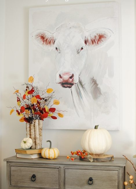 Farmhouse cow painting and fall farmhouse tour