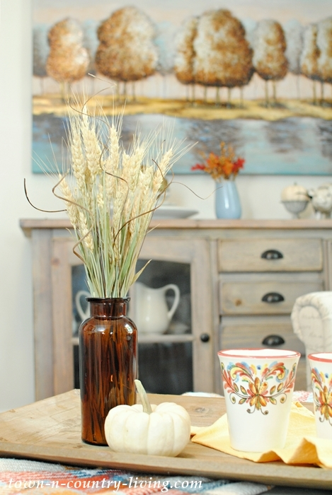 Touches of fall in a farmhouse sitting room