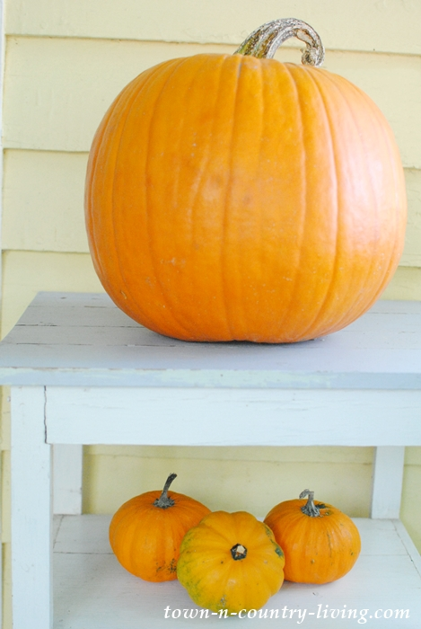 Orange pumpkins for a fall front porch