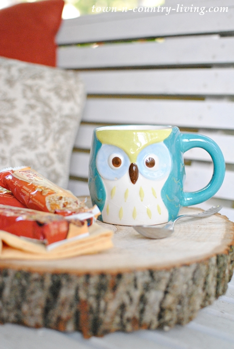 Owl Mug on my fall front porch