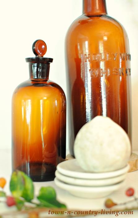Vintage Amber Bottle Collection