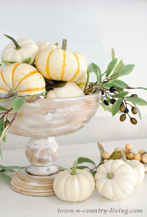 Kirklands wooden bowl with fall gourds