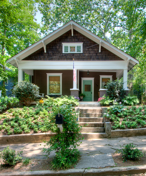 Brown Craftsman Bungalow