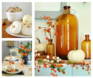 Fall Vignettes with Baby Boo Pumpkins