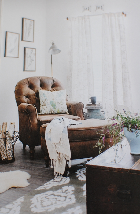 Leather Chair and Ottoman - Cozy Corner