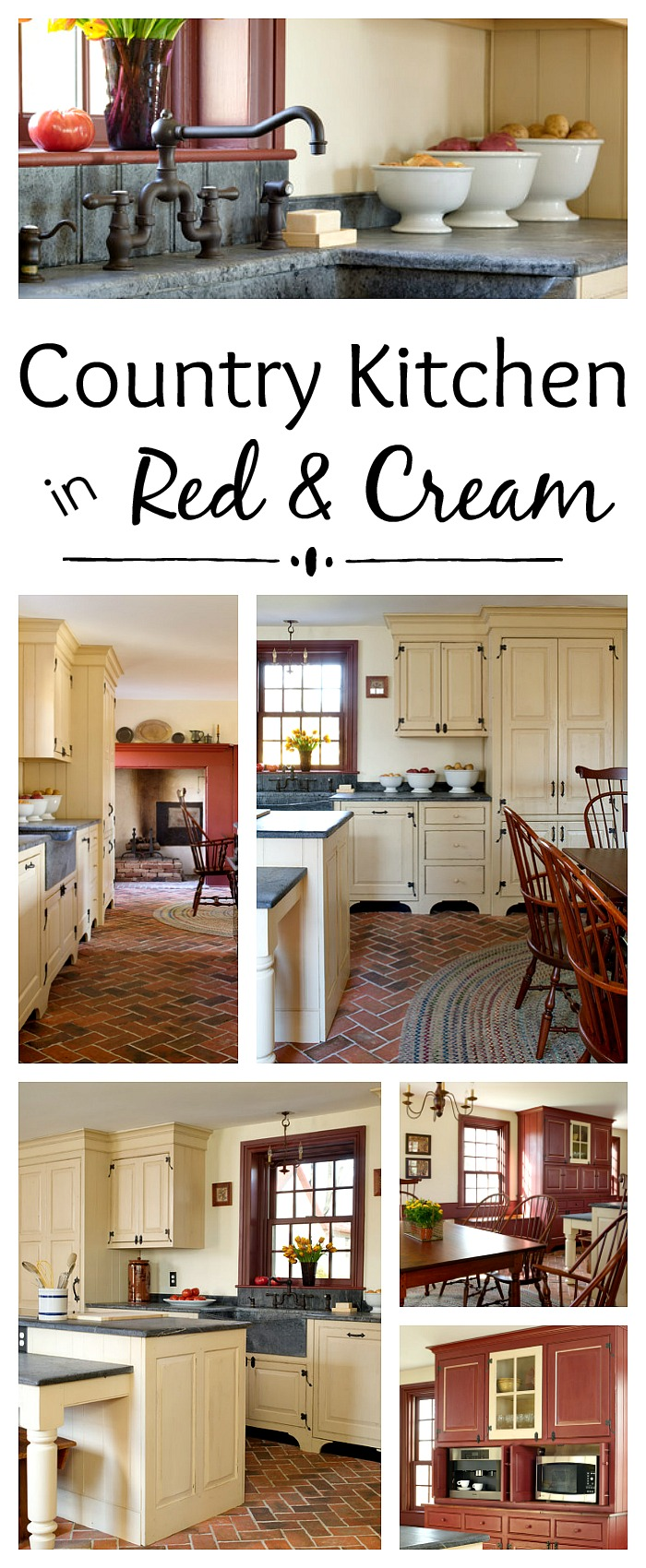 Country Kitchen In Red And Cream Town Country Living