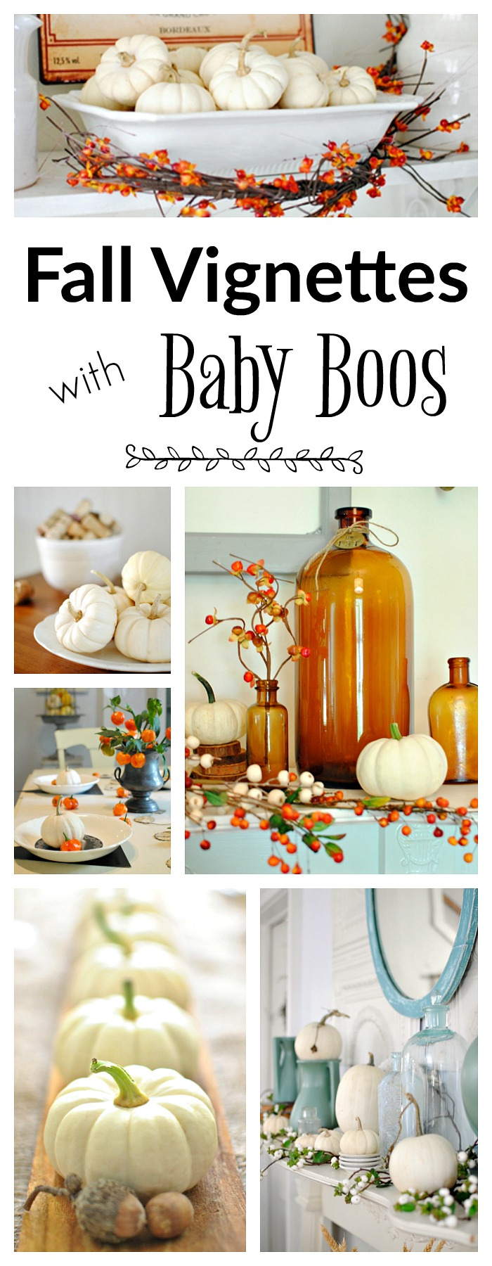 Fall vignettes with baby boo pumpkins town country living