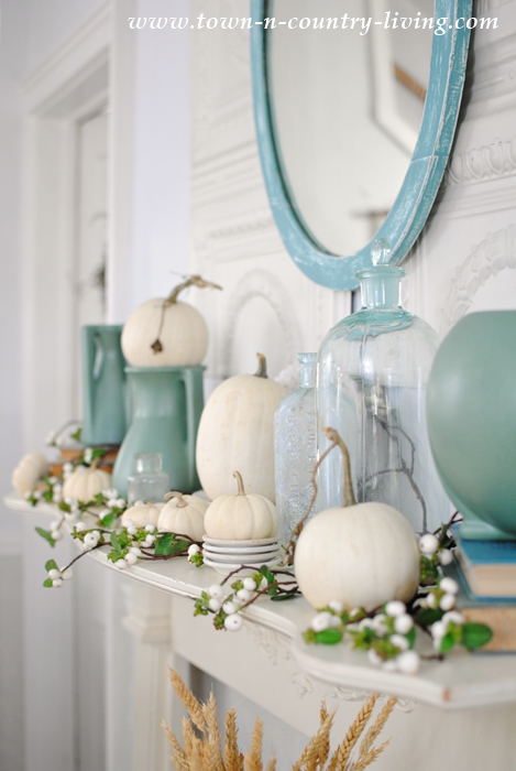 Fall Vignettes on a mantel with baby boo pumpkins