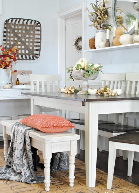 Farmhouse Dining Table with Dark Top and White Legs