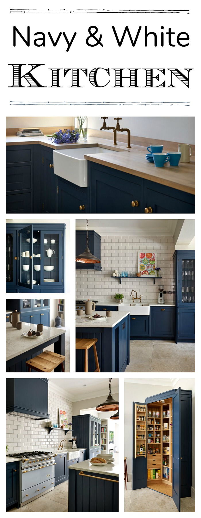 Navy And White Sophisticated Kitchen Town Country Living