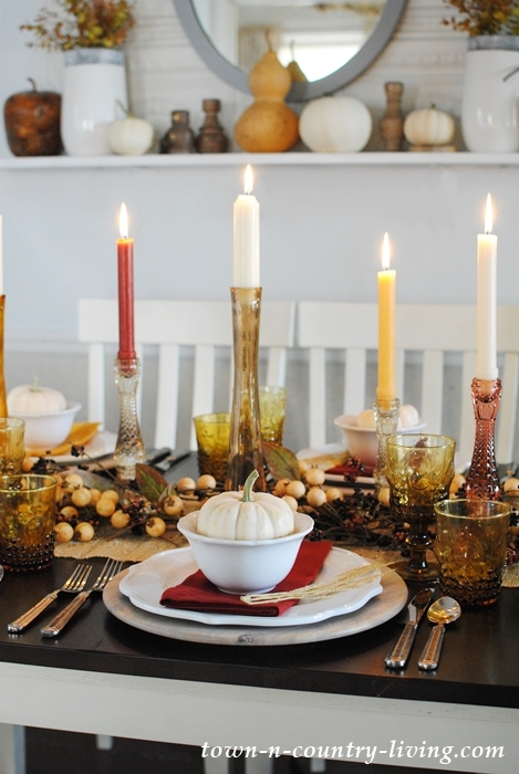 Golden Autumn Days Table Setting in a Farmhouse Dining Room