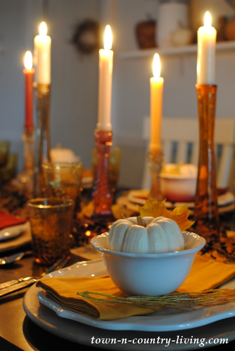 Golden Autumn Days Table Setting at Night