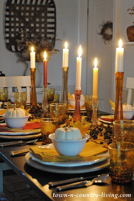 Evening Thanksgiving Table Setting