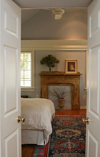 Wood Mantel in Bedroom