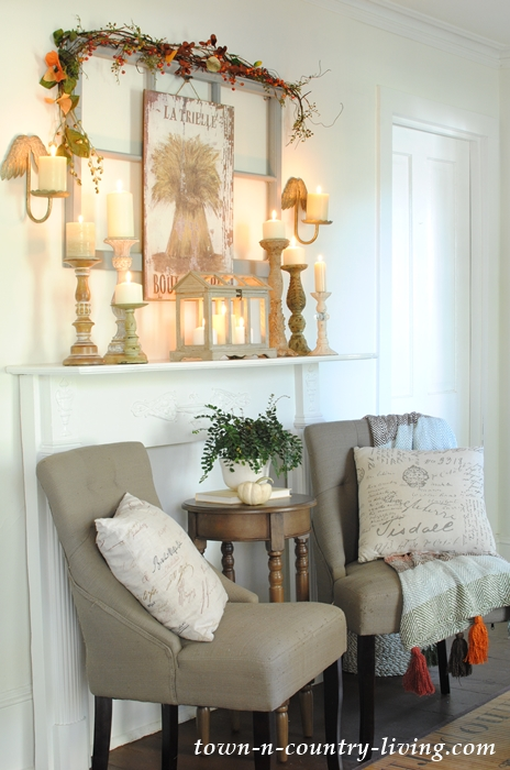 Country Farmhouse Candlelit Mantel