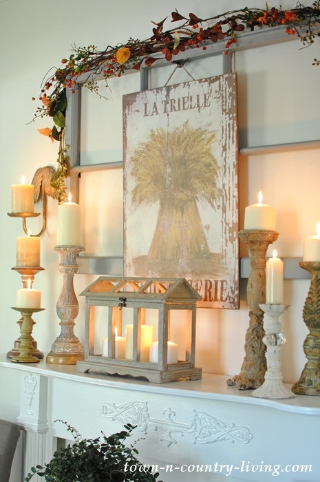 Wooden Candle Holders on Vintage Mantel