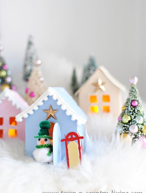 Christmas Village made from construction paper and free holiday printable