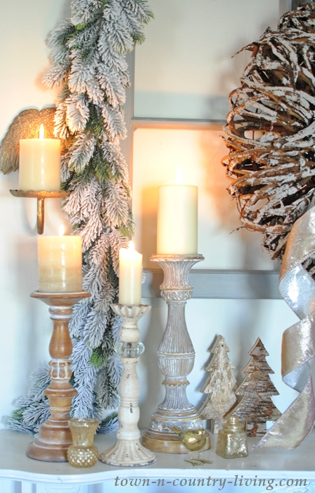 Cozy Candles on a Christmas Mantel