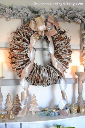 Cozy Christmas Mantel with Bark Wreath