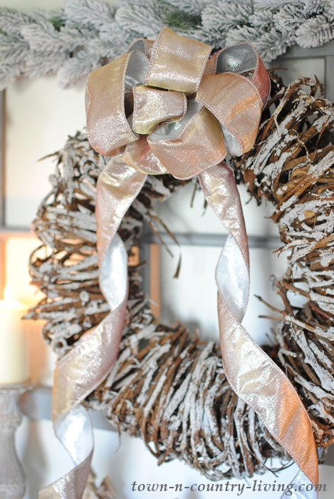 Rustic Wreath with Gold Ribbon