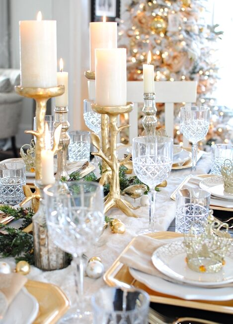 Gold and Crystal Holiday Table Setting