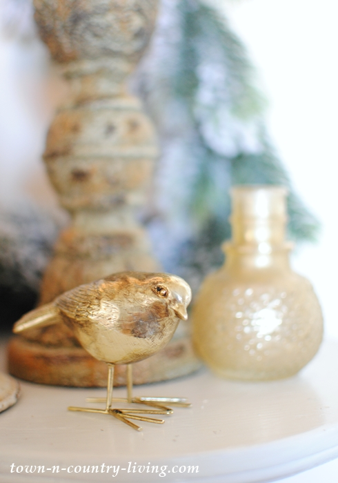 Little Gold Bird on Christmas Mantel