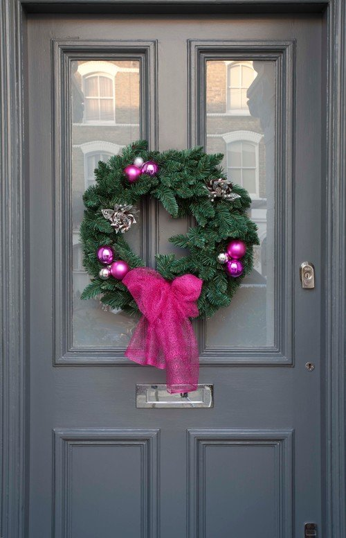 Gray Front Door with Holiday Wreath
