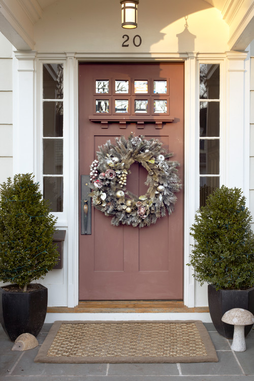 Arts and Crafts Front Door with Large Wreath