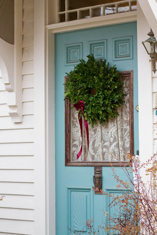 Turquoise Front Door with Live Christmas Wreath