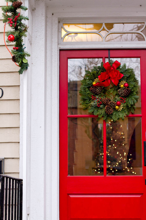 Red Front Door with Green Wreath