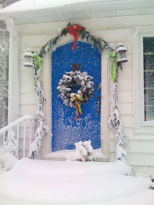Bright Blue Arched Front Door in Winter