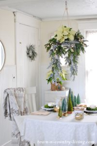 Christmas Floral Chandelier in a Breakfast Nook
