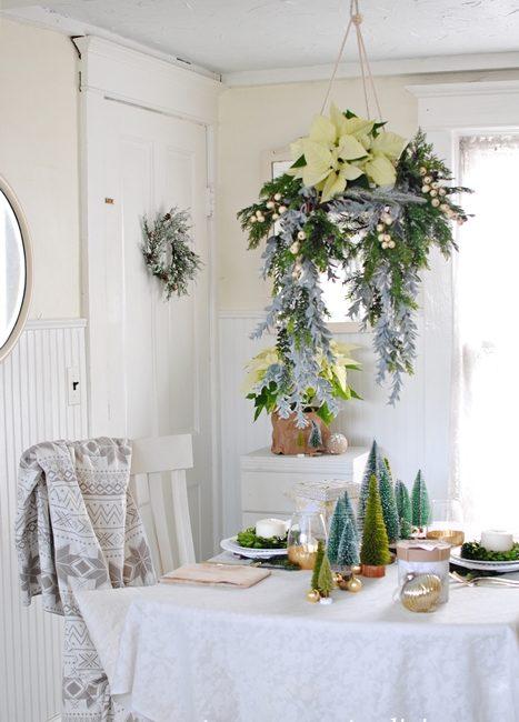 Christmas floral chandelier in breakfast nook